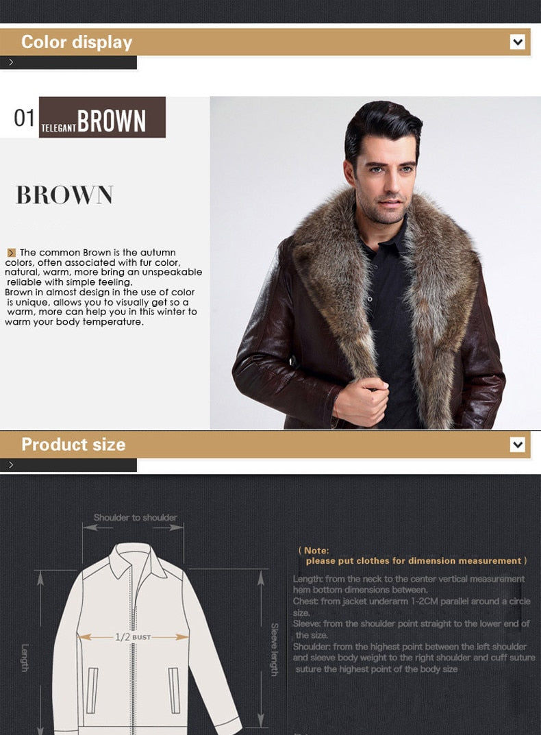 Winter Leather Jacket Men Fashion Men's Brown Fur Coats For Natural Lined Plus Size OverCoat