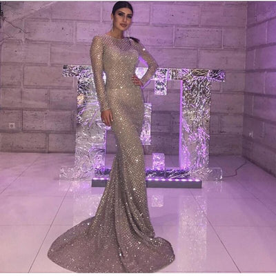 Silver Gold Plaid O Neck Party Maxi Dresses Bodycon Glitter Hollow Out Full Sleeved Floor Length Elegant Night Club Dress FREE SHIPPING 5-12 DAYS