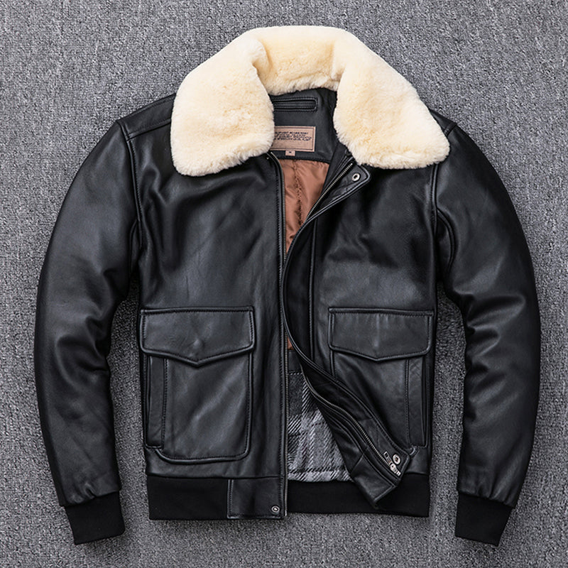 Sheepskin Leather Jacket Men Air Force G1 Flight Jacket Man Winter Coat Collar