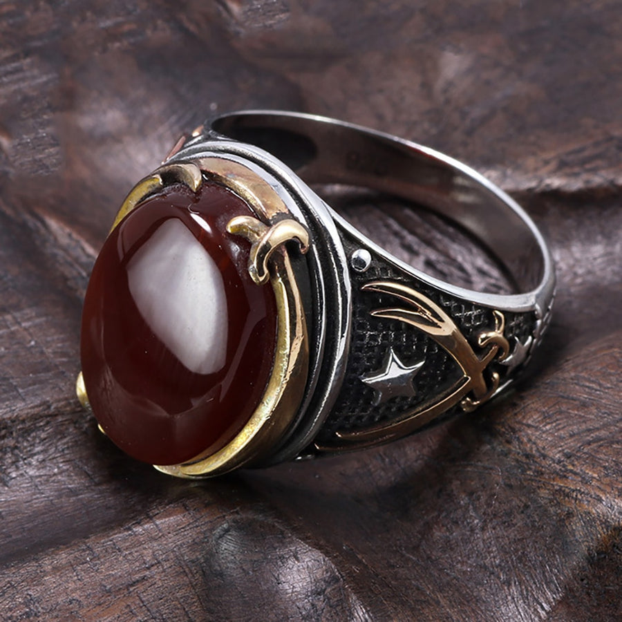 Genuine Solid 925 Silver Rings Cool Vintage Rings Natural Onyx Tiger Eye Big Turkish Rings For Men With Stones Turkish Jewellery