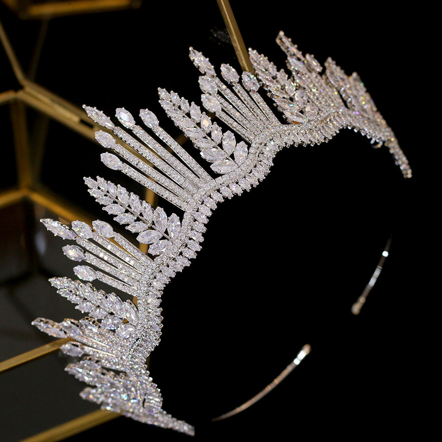 New luxury princess crystal crown silver Tiara crystal bride crown CZ wedding headband large wedding hair accessories