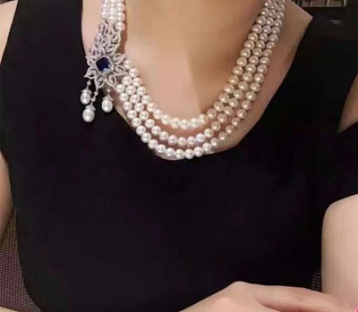 Pearl Jewelry Making Luxury Zircon Crystal Pearls Tassels Big Pendant For Making Long Necklace Jewelry Components