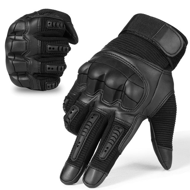 Touch Screen Tactical Rubber Hard Knuckle Full Finger Gloves Military Army Paintball Airsoft Bicycle Combat PU Leather Glove Men
