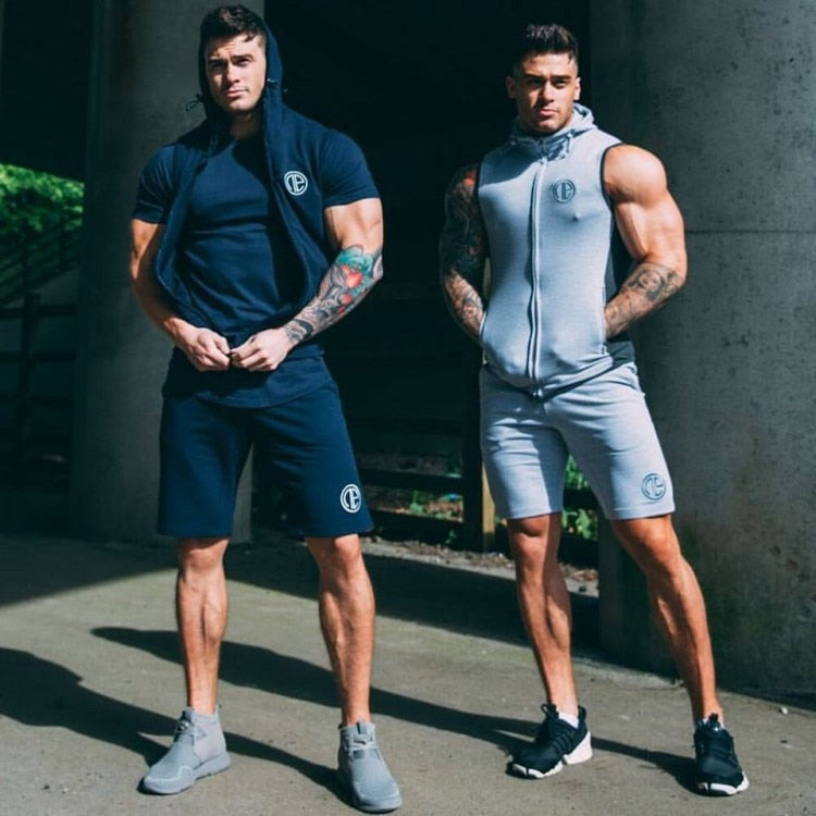 Gyms Sporting Suit Mens Hoodie Zipper Pants Suits Tracksuit Two Piece