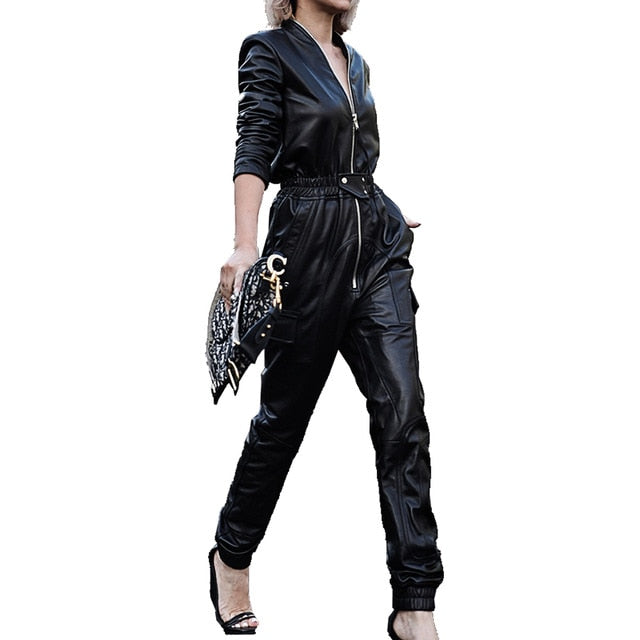 Long black faux leather jumpsuit women long sleeve zipper