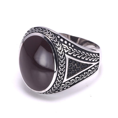 Real Pure Mens Rings Silver s925 Retro Vintage Big Turkish Rings