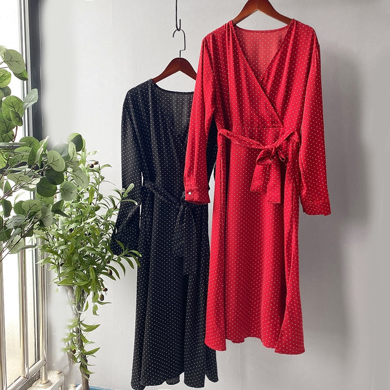 Autumn Dress Women Red Dot Long Sleeve High Waist Dress