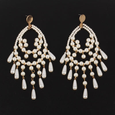 Handmade Simulated Pearl Big Dangle Earrings for Women