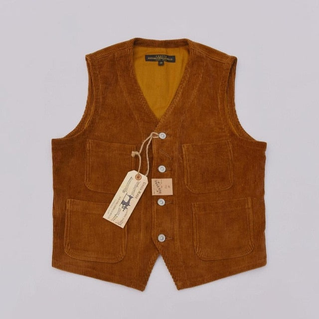 Cotton Corduroy Vest Vintage Men's Brushed Work