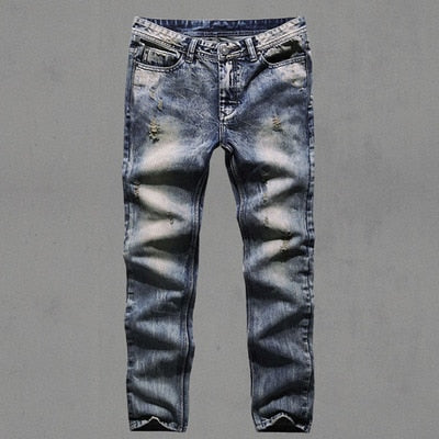 Mens Retro ripped jeans mens solid Washing denim jeans new Korean style casual trousers stretch man denim pants 100% Cotton K526