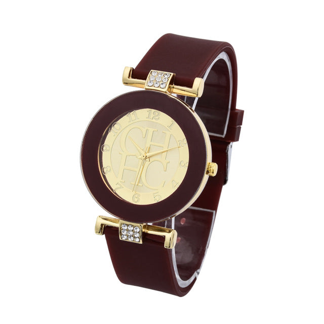 60fb3cd5f7d59 Hot sale Fashion Brand Gold Geneva sport Quartz Watch Women dress casual  Crystal Silicone Watches montre homme relojes hombre