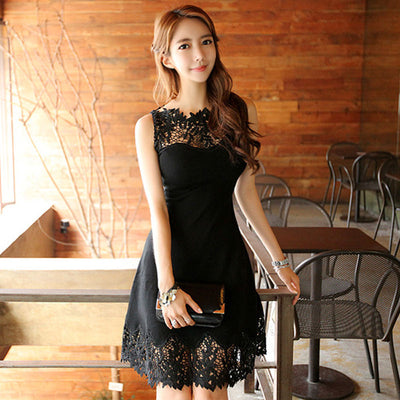 Fashion Slim Sexy Black Hollow Lace Patchwork Women Dress Sleeveless Short Party Dresses Vestidos
