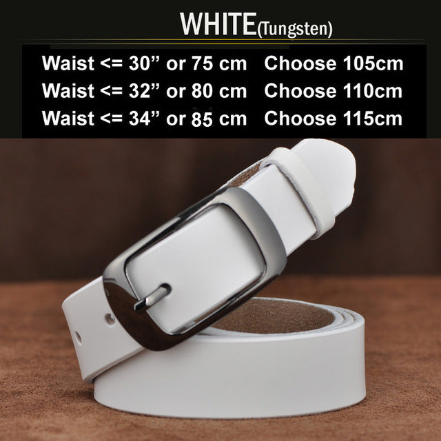 Cool Belts for Lady Women with Belt Genuine Leather Waistband Pin Buckles for Jeans N17062GWhite 100cm