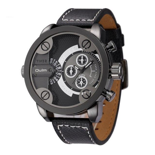 Oulm Top Luxury Brand Watches Men Leather Strap Big Dial Quartz Clock Male Watch Military Wrist Watch Relogio Masculino