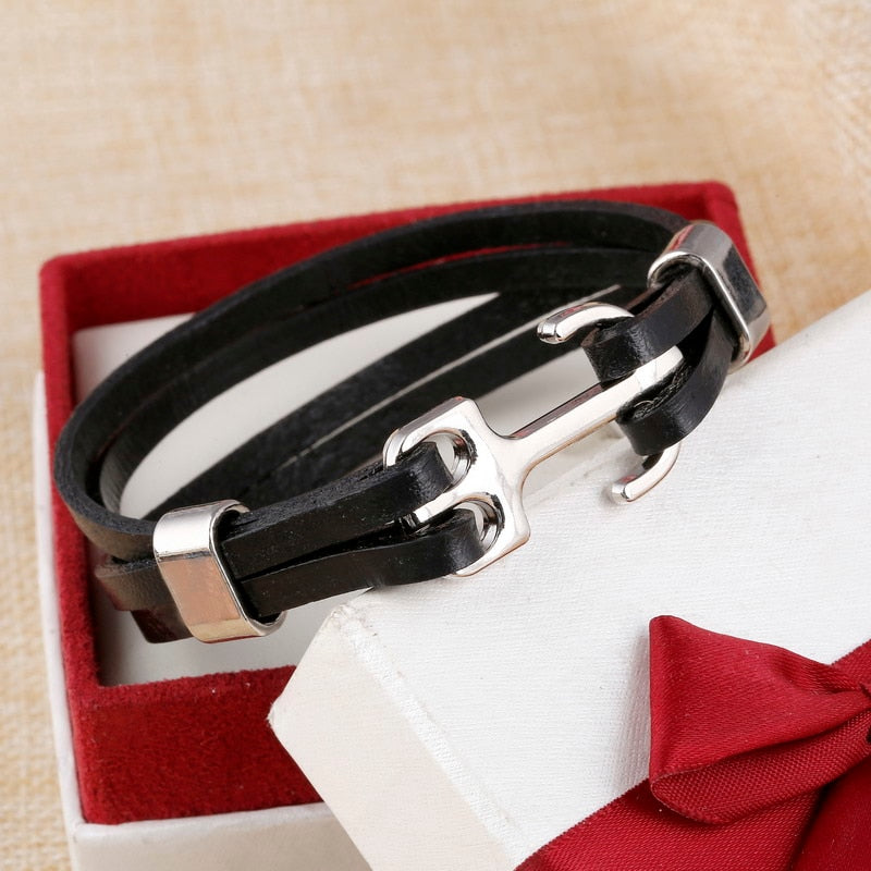 ZOSHI Wholesale Cuff braided Wrap Bracelet & Bangles Men Jewelry Pirate Genuine Leather Anchor Bracelets Vintage Men's Jewelry
