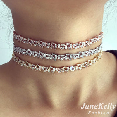 popular AAA cubic zirconia Baguette choker necklace for Women adjustable length trendy geometric chokers necklaces N608162