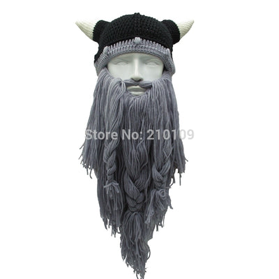 chicmaxonline Men's Barbarian Vagabond Viking Beard Beanie Horn Hats Handmade Winter Warm Birthday Cool Gifts Funny Gag Halloween Cap