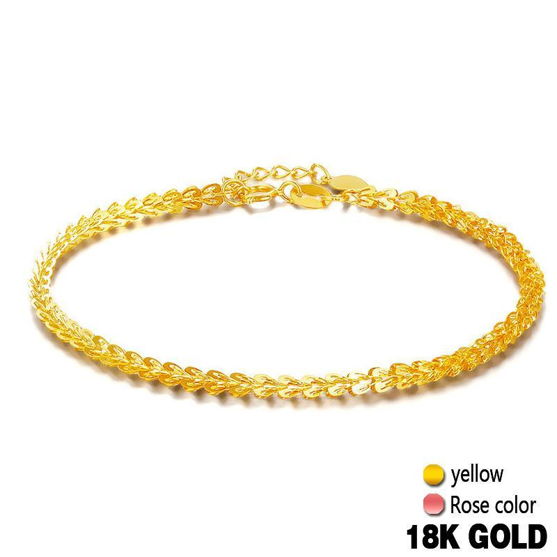f57f15a2e6b82 18k Pure Gold Women Bracelet Yellow Rose Girl Genuine Real Solid 750 Gift  Female Bangle Upscale Hot Sale 2017 New Party Trendy