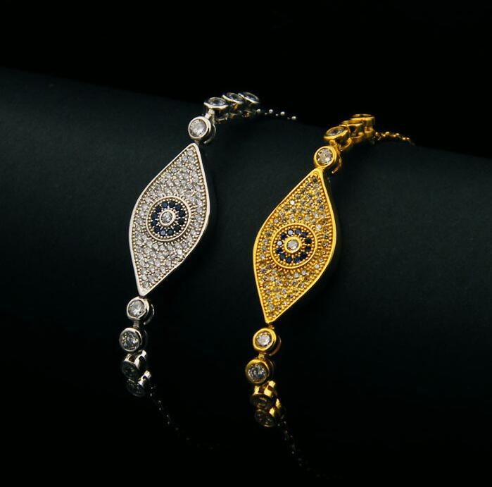New Arrival Evil Eye two color exquisite mirco pave setting Bracelets Women Gold-Color Pulseira Jewelry Bijoux