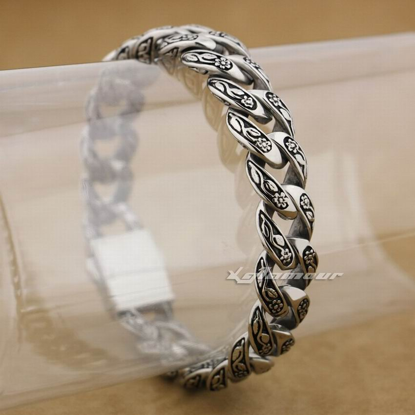 LINSION Solid 316L Stainless Steel Rose Flower Bracelet Mens Biker Link Chain 4R013 Free Shipping