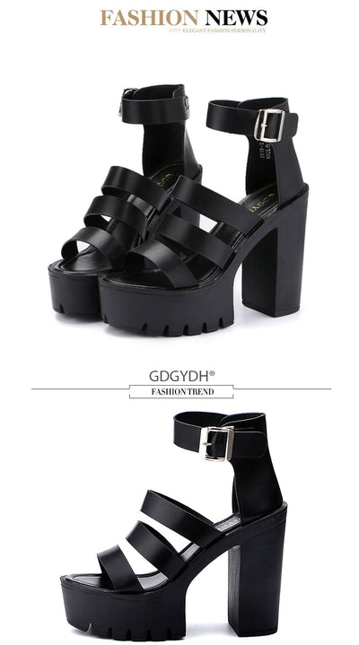 Gdgydh 2019 New Summer Shoes Women White Open Toe Button Belt Thick Heel Wedges Platform Shoes Fashionable Casual Sandals Female