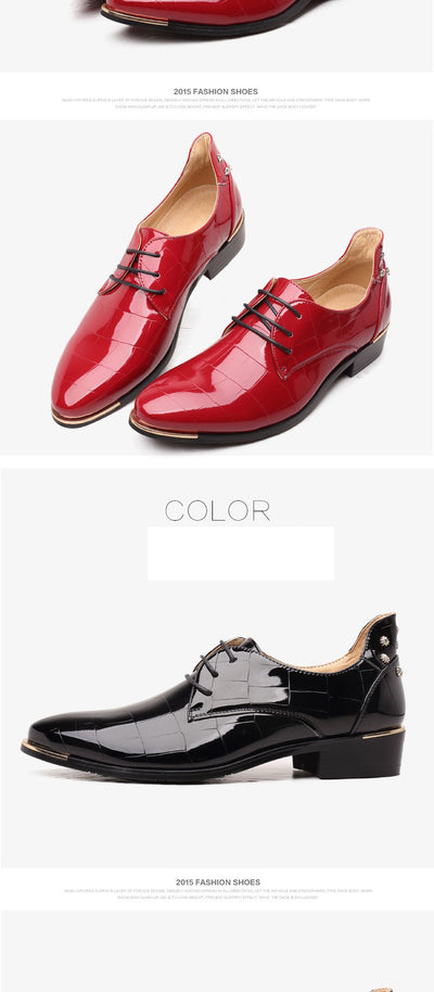 Men flat shoes 2018 hot fashion party and wedding breathable PU leather casual shoes men