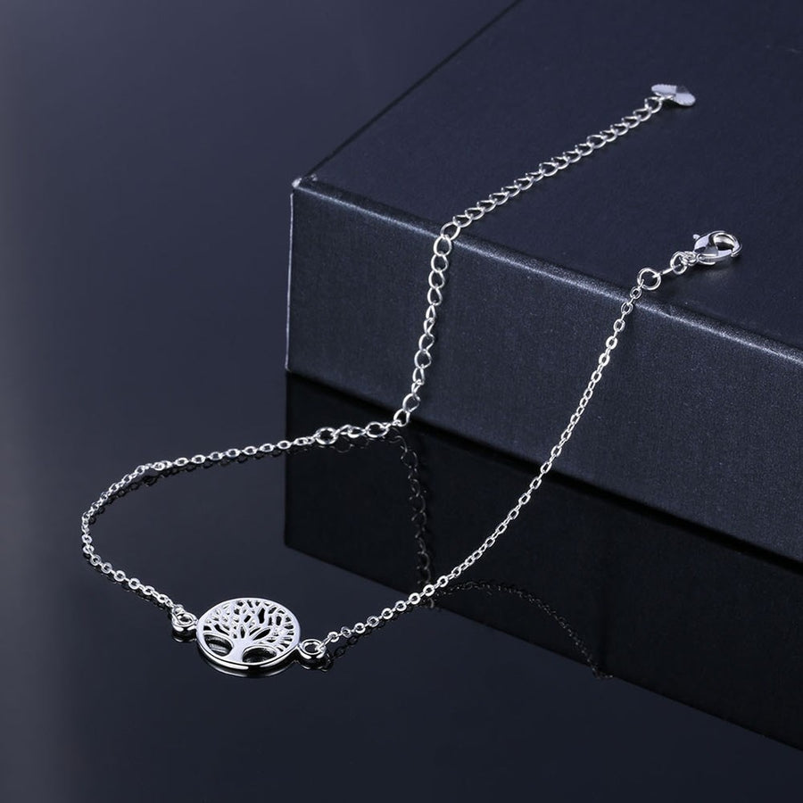 New Fashion Tree Of Life Hollow Out Chain Anklet 925 Stamp Silver Plated Ankle Bracelet Foot Jewelry for Women Barefoot Beach AA