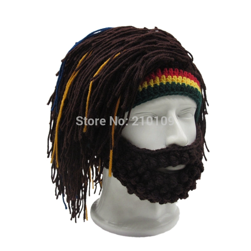 chicmaxonline Wig Beard Hat Rasta Beanie Caveman Bandana Handmade Crocheted Gorro Winter Men's Halloween Costume Funny Birthday Gifts