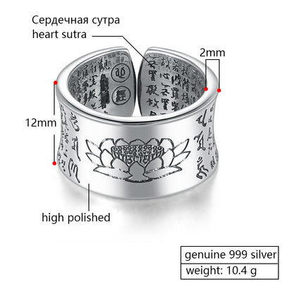 ZABRA 999 Silver Ring Men Buddhist Heart Sutra Signet Ring Vintage Opening Adjustable Female Women Rings Sterling Silver Jewelry