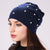 Geebro Brand Women's Beanie Hat Casual Polyester Shine Pearls&Rhinestones Beanies For Women Skull Beanie Hats Bonnet For Female