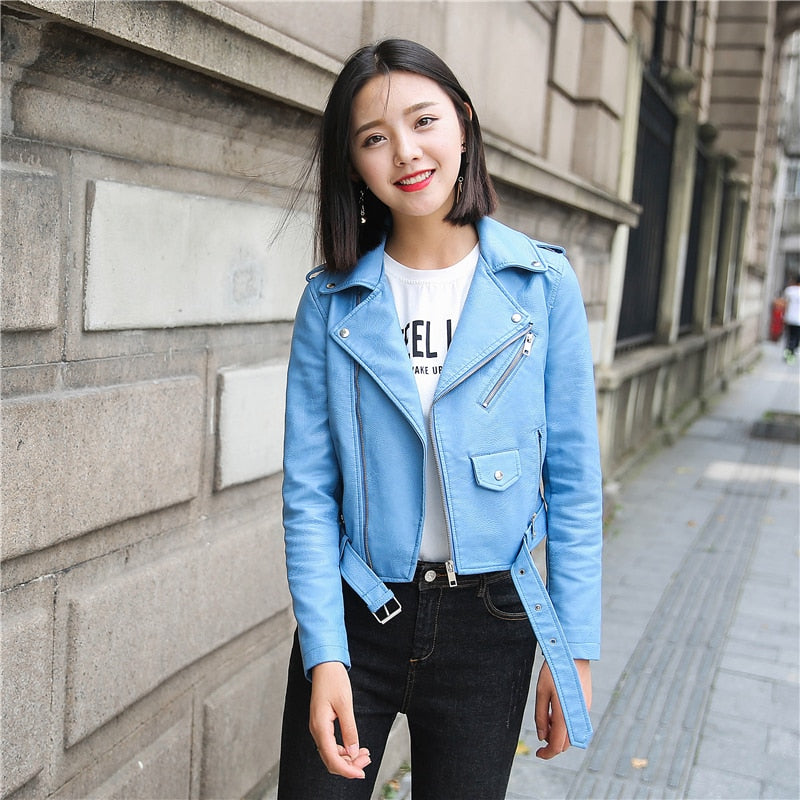Leather Jacket Women Fashion Bright Colors Black Motorcycle Coat Short Faux Leather Biker Jacket Soft Jacket Female