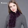 Gours Women's Real Fur Scarf High Quality Luxury Big Rex Rabbit Fur Scarves Fashion Brand Thick Warm Winter New Arrival GLWJ003