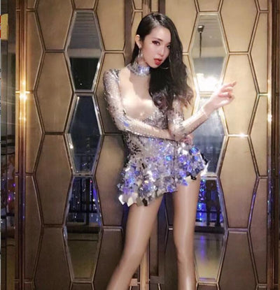 Shining Silver Mirrors Stone Dress Female Singer Dancer Bright Bodysuit Costume One-piece Nightclub Dress Oufit Party Dresses