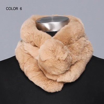 Gours Women's Real Fur Scarf High Quality Luxury Big Rex Rabbit Fur Scarves Thick Warm Winter Fashion Brand New Arrival GLWJ005