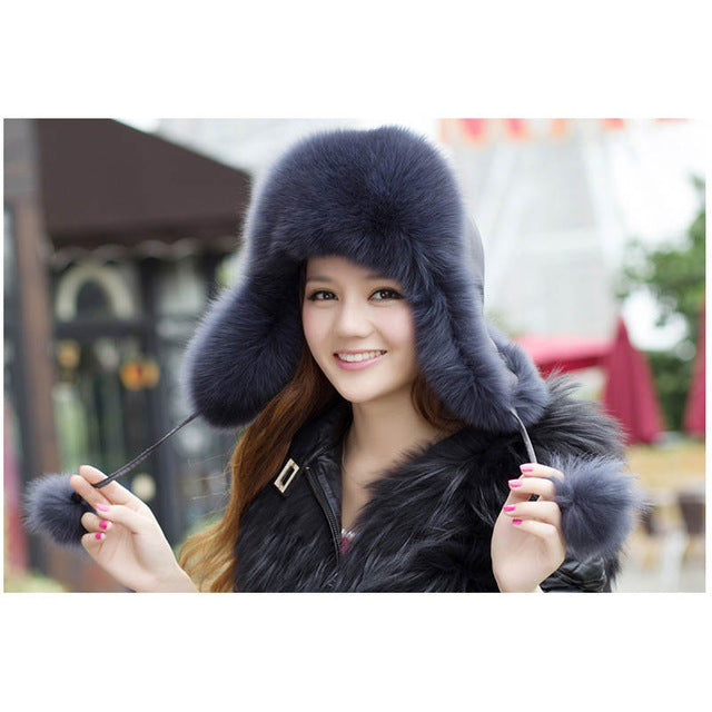 c275e4f8f On Sale 100% Real Fox fur Women's Russian Ushanka Aviator trapper snow  skiing Hat caps earflap winter raccoon fur Bomber hat