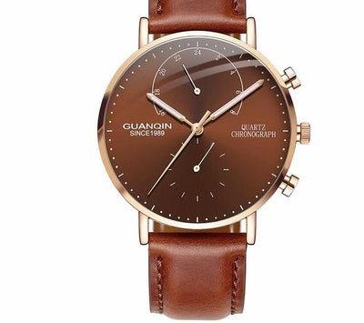 relogio masculino GUANQIN Brand Luxury Watches Men Fashion Creative Chronograph Luminous Analog Retro Leather Strap Quartz Watch