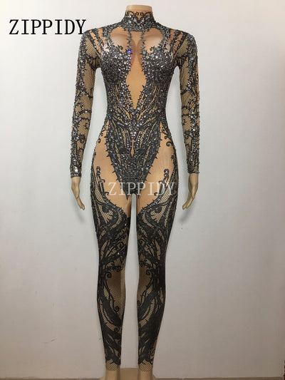 Black Nude Rhinestone Jumpsuit Sexy Nightclub Bar Wear Stones Bodysuit Leggings Prom Celebrate Outfit Performance Dress