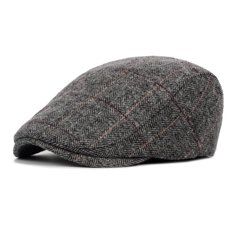 Color : White Plaid, Size : 56-58CM MXL 2019 New Retro Berets for Adults Flat Checkered Wool Hats for Women Newsboy Caps Cotton Mens Beret