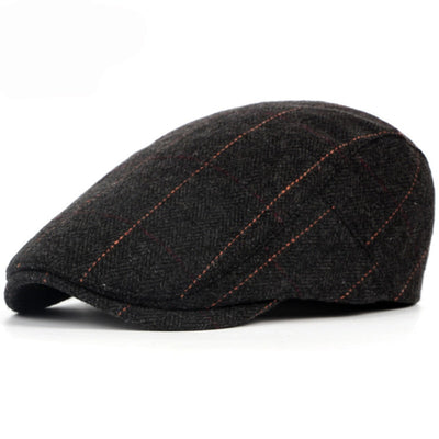 HT1329 2017 Autumn Winter Men Cap Hats Berets British Western Style Wool Advanced Flat Ivy Cap Classic Vintage Striped Beret Cap