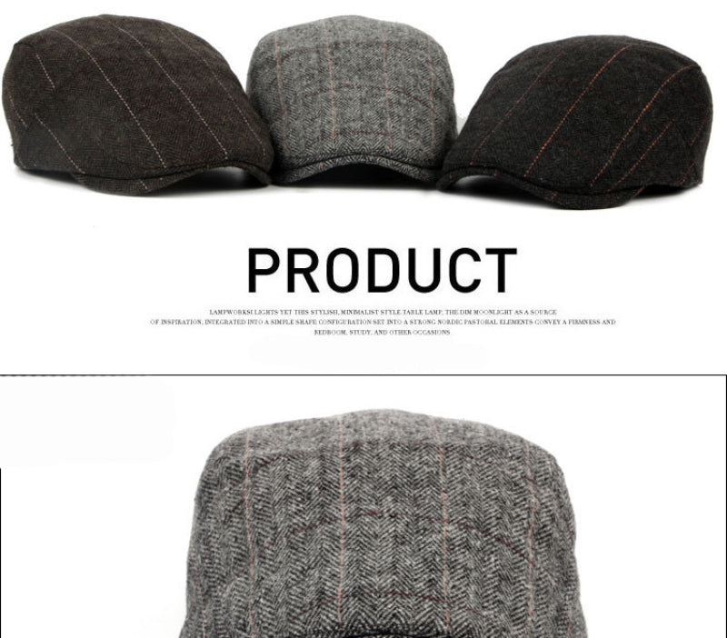 a47058646 HT1329 2017 Autumn Winter Men Cap Hats Berets British Western Style Wool  Advanced Flat Ivy Cap Classic Vintage Striped Beret Cap