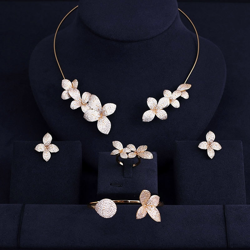 8f181c04c Luxury real micro pave setting cubic zirconia leaves shaped necklace  earrings ring bracelet dubai jewelry set