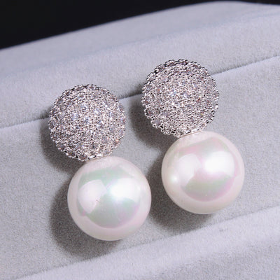 Fashion Wedding Pearl Jewelry Accessories 925 Sterling Silver Pearl Earrings Elegant Crystals Stud Earrings For Women E1713