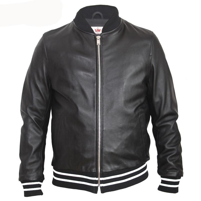 721e0fe25664 MAPLESTEED Men Leather Jacket Embroidery Soft 100% Sheepskin Casual Male  Leather Clothing Boy Leather Jacket Spring Autumn M129