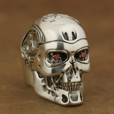 LINSION Handmade 925 Sterling Silver Red CZ Eyes Terminator Mens Biker Robot Ring TA80