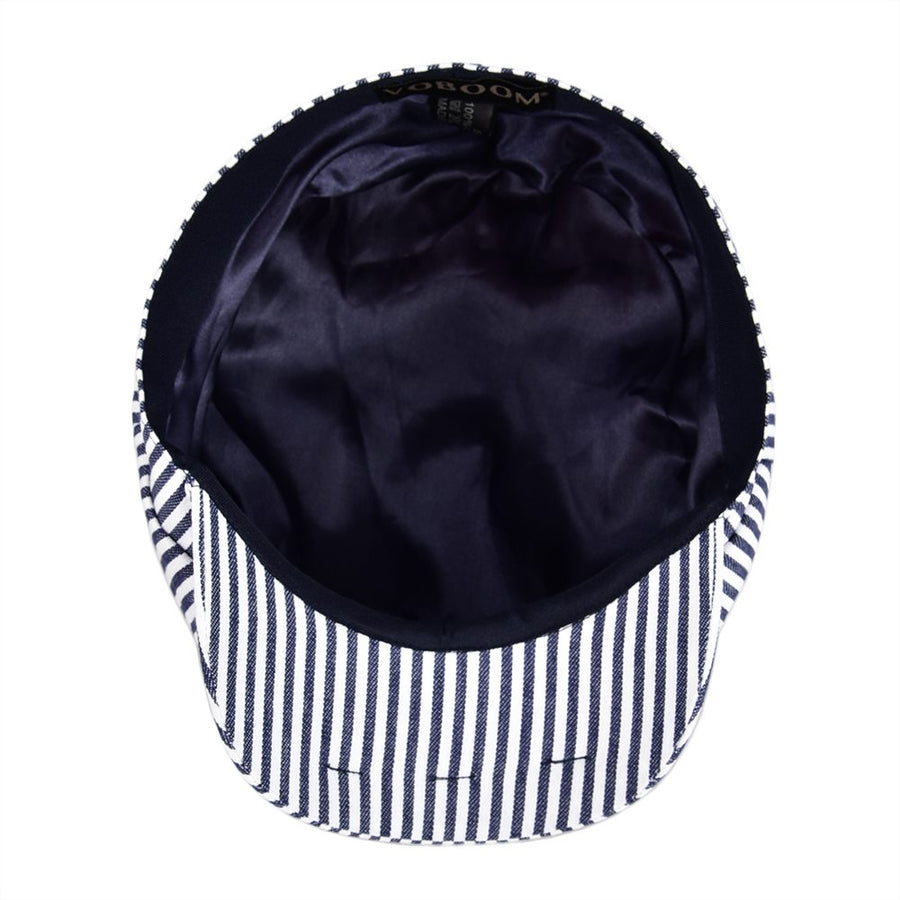 Summer Newsboy Flat Cap Black Navy Blue Stripe  Ivy Caps 8 Panel Design Men Women Cotton Gatsby Hat 146