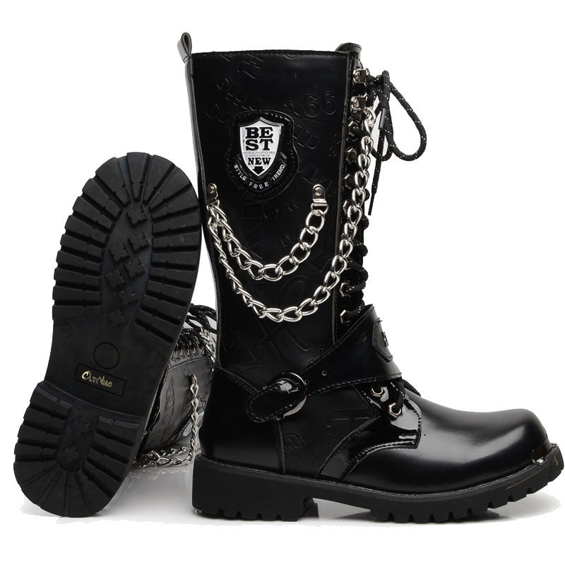 Army Boots Men High Military Combat Men Boots Mid Calf Metal Chain Male Motorcycle Punk Boots Spring Men's Shoes Rock