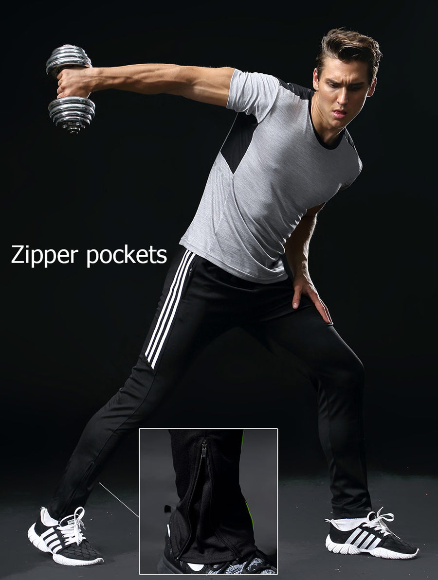 Sport Pants Men With Zipper Pockets Running pants Football Soccer Training Pants Fitness jogging Elasticity Sport Trousers 318