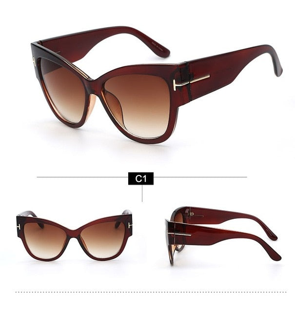 1e28c062ccf Luxury Vintage Gradient Points Sun Glasses Tom High Fashion Designer Brands  For Women Sunglasses Cateye oculos