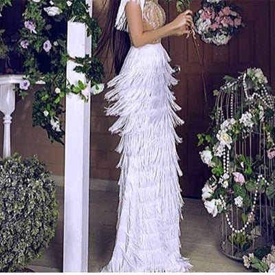 Dress For Dancing Mermaid Prom Dresses 2019 Long Evening Gowns Tassel Latin Formal party Dress Rhinestone Feather Robe De Soiree