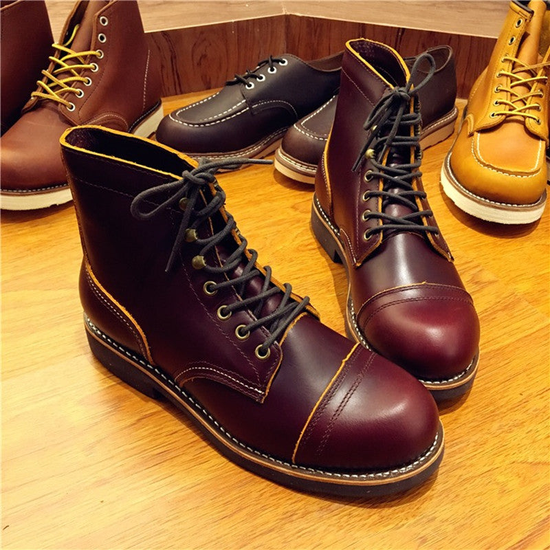 7181ea1693a Handmade Genuine Leather Original Unisex Spring Winter Boots Men Wing  Motorcycle Fashion Work Wedding Boots Wine